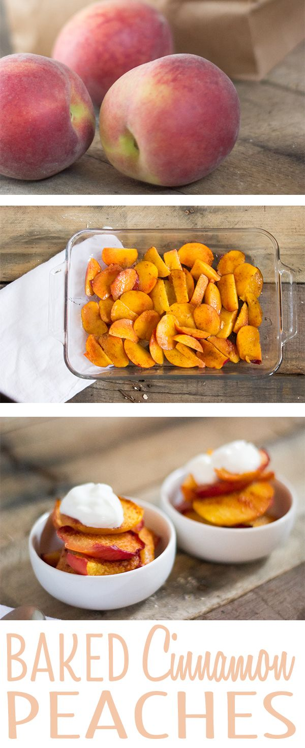 Baked cinnamon peaches topped with Greek yogurt! A healthy dessert. Peaches, honey, cinnamon, and yogurt.
