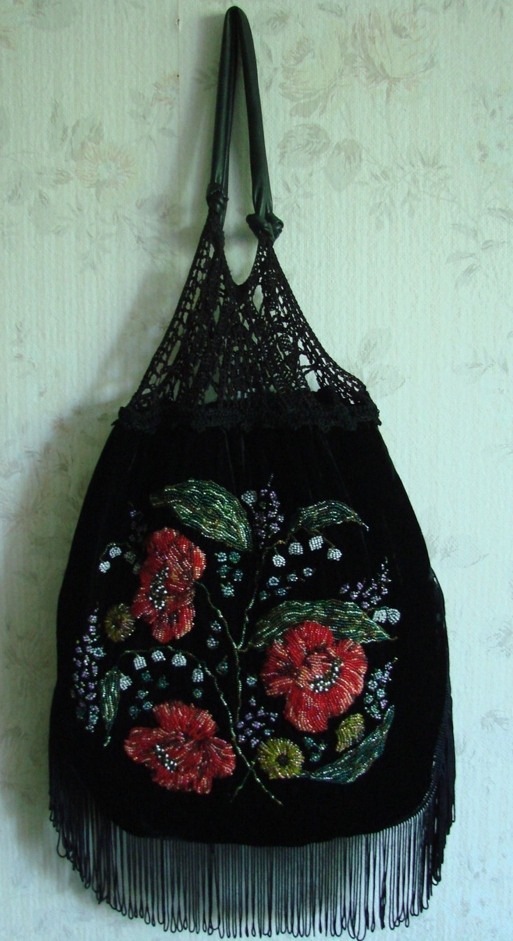 Black vintage look silk velvet bag with bead embroidered poppies.