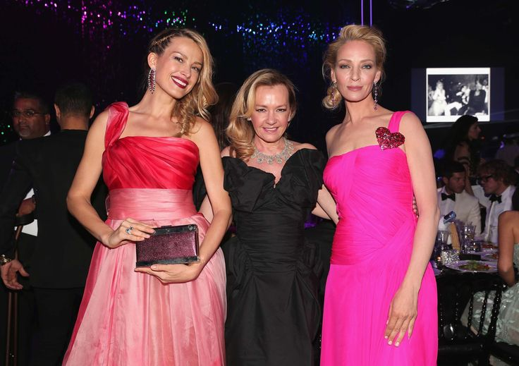 Petra Nemcova in Georges Chakra, Caroline Scheufele, and Uma Thurman in Schiaparelli Haute Couture, all in Chopard jewelry