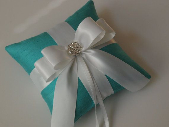 Tiffany Blue Ring Pillow with White Bow and Rhinestones