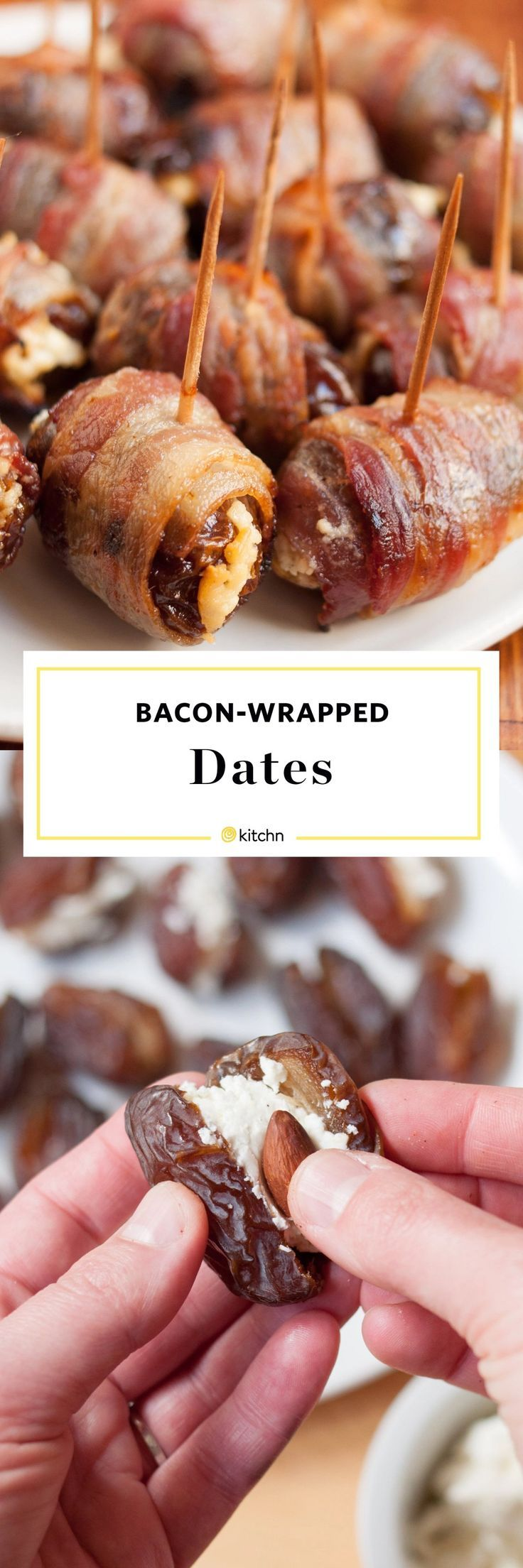 Bacon wrapped dates recipe. Need ideas and recipes for easy small bites or appetizers for Thanksgiving or Christmas parties? Entertaining for the holidays is easy with crowd pleasers like this for your party! Families will love these. It's like meat and dips all in one! Serve hot or cold. Stuffed with goat or blue cheese and an almond.