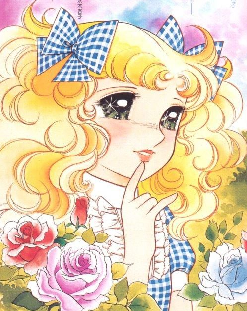 "Candy Candy (キャンディ・キャンディ?) is a Japanese novel, manga, and anime series. The main character, Candice ""Candy"" White Ardlay is a blonde girl with freckles, large emerald green eyes and long, curly hair, worn in pigtails with bows. Candy Candy first appeared in a prose novel by famed Japanese writer Kyoko Mizuki in April 1975.["