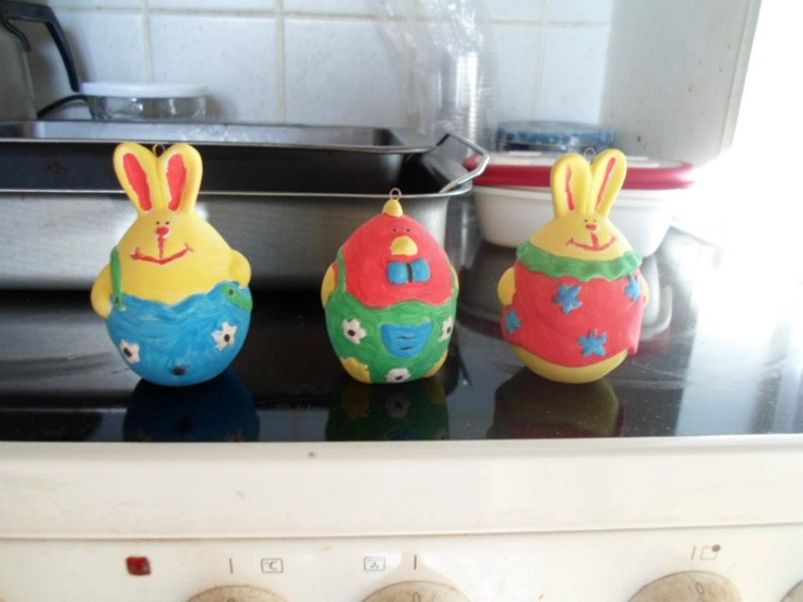 Painted Easter figures.