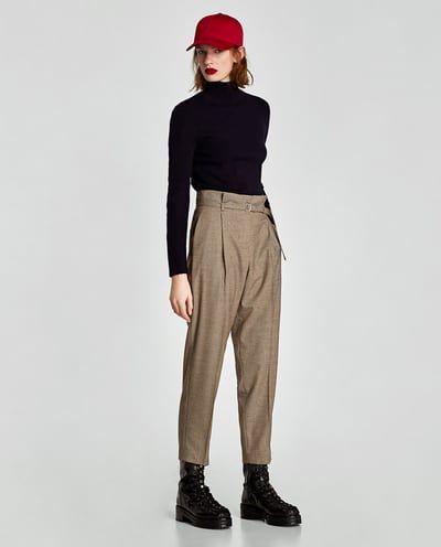 PANTALÓN TIRO ALTO CUADROS-Pantalones de vestir-PANTALONES-MUJER | ZARA España