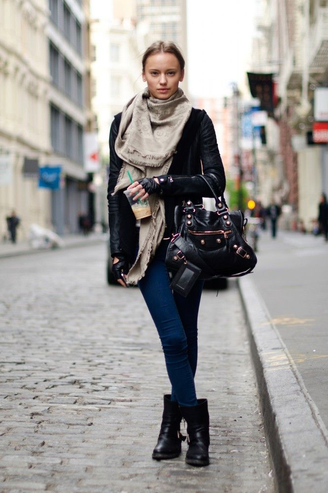 Skinny jeans, leather jacket, boots & scarf