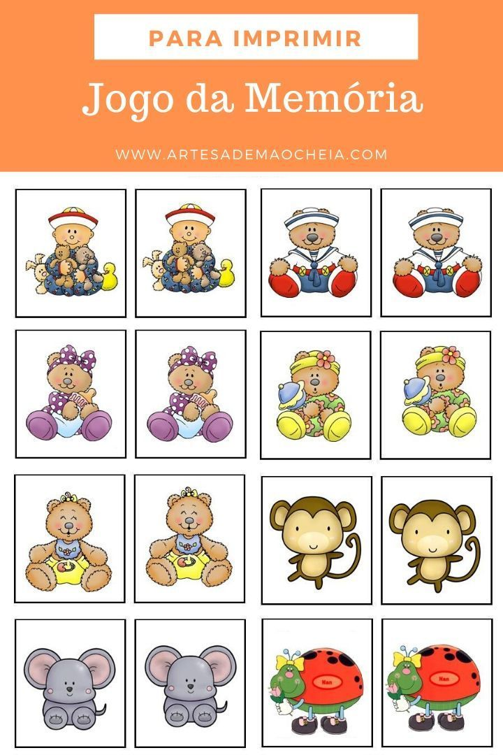 Jogo Da Memoria Para Imprimir 18 Modelos Para Divertir As C Atividades De Aprendizagem Para Criancas Atividades Para Criancas Com 3 Anos Atividades Educativas