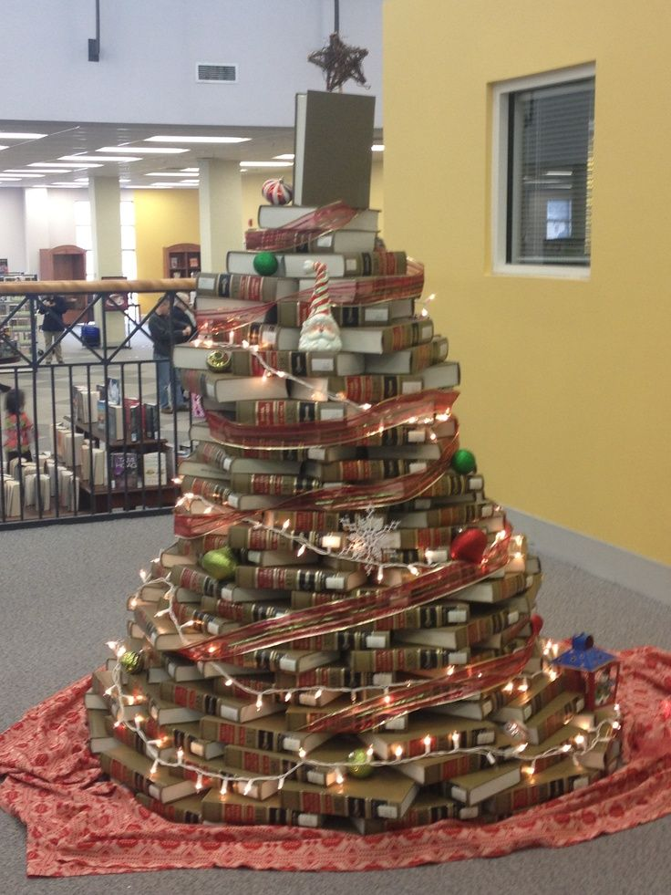pinterest library christmas trees   Book Christmas tree at the library   All I want for Christmas is my t ...