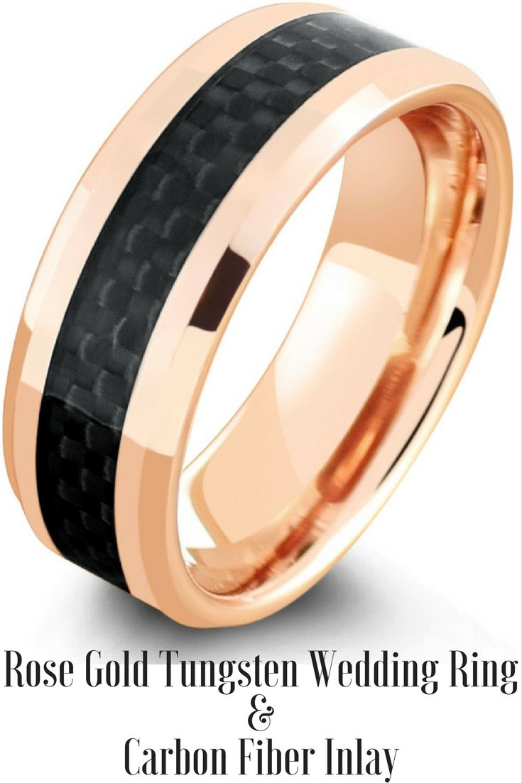 Mens Rose Gold Tungsten Wedding Ring With A Black Woven Carbon Fiber Inlay  I Love