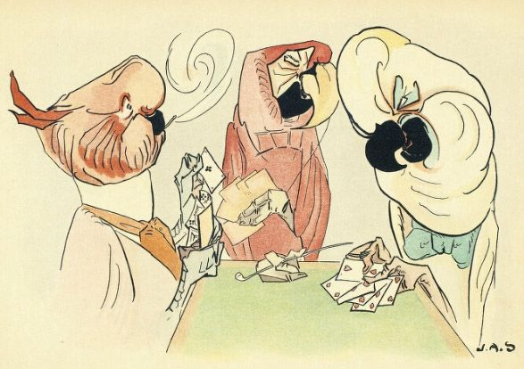 """Antique Children's Book Illustration 1897 from """"Zig Zag Fables"""" Parrots smoking & playing poker #strangeness"""