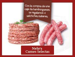 Nelo's Carnes Selectas Cortesía  Con la compra de una caja de hamburguesas, te regalamos 4 salchichas italianas.