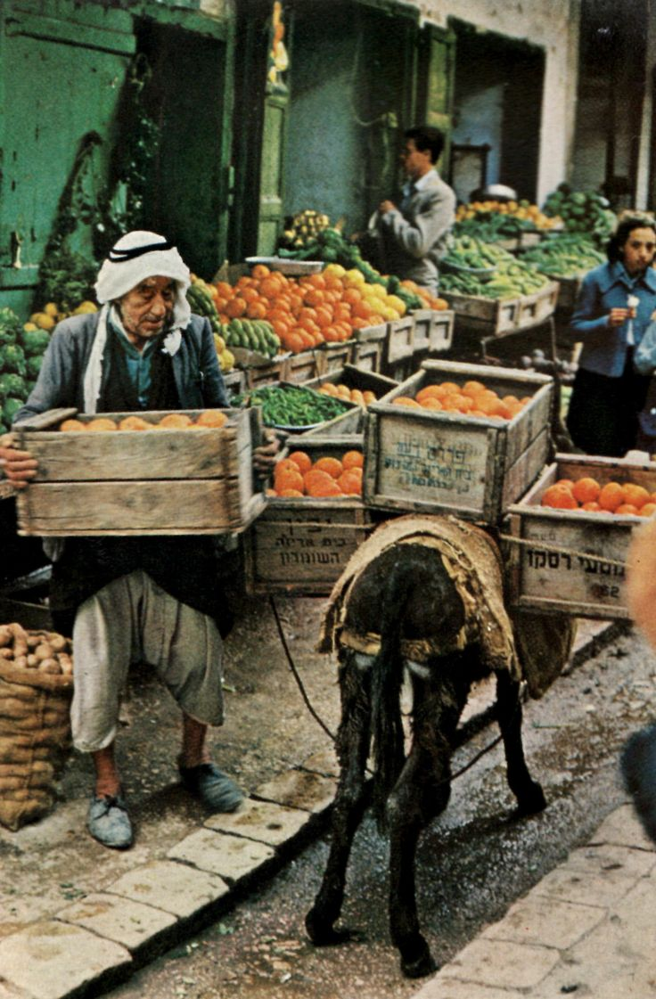 ke:  Vegetable and fruit stalls jam the narrow streets of Nazareth's bazaar, little changed since Biblical days.
