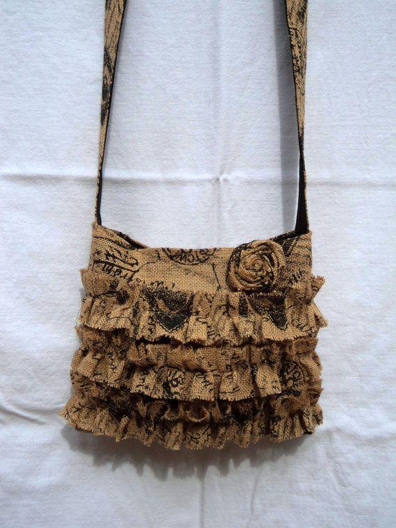 French Chic Crossbody Bag Burlap Purse by theruffleddaisy on Etsy, $48.00