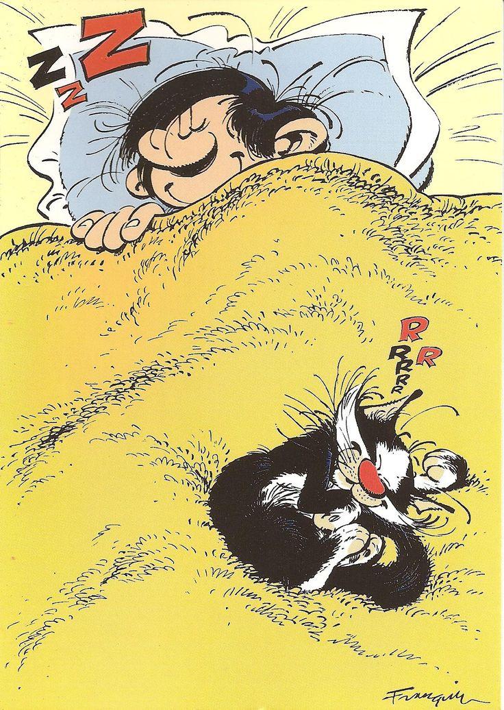 """Le chat de Gaston Lagaffe, personnage de fiction créé par André Franquin dans le magazine de bande dessinée """"Le Journal de Spirou"""" en 1957, puis en album dans la série Gaston à partir de 1960. C'est l'anti-héros par excellence.                                                                                                                                                      Plus"""