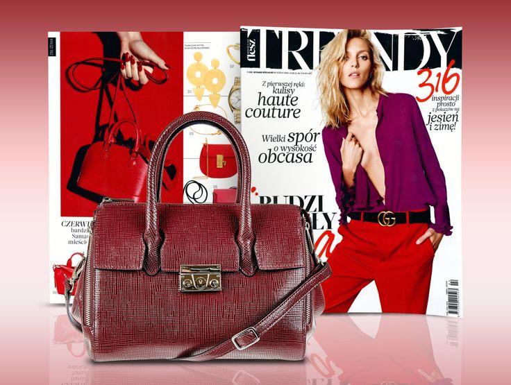 Bordo i złoto to najbardziej zmysłowe połączenie! Styliści magazynu FLESZ TRENDY zaprezentowali m.in. piękną torebkę z jesienno-zimowej kolekcji marki Wojas (5885/55) www.wojas.pl/produkt/21564/torebka-damska-5885-55