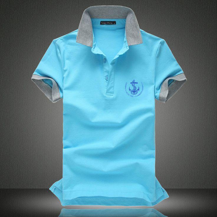 男士翻领T恤纯棉夏装修身短袖T恤纯色休闲加肥加大码半袖体恤衫潮-淘宝网