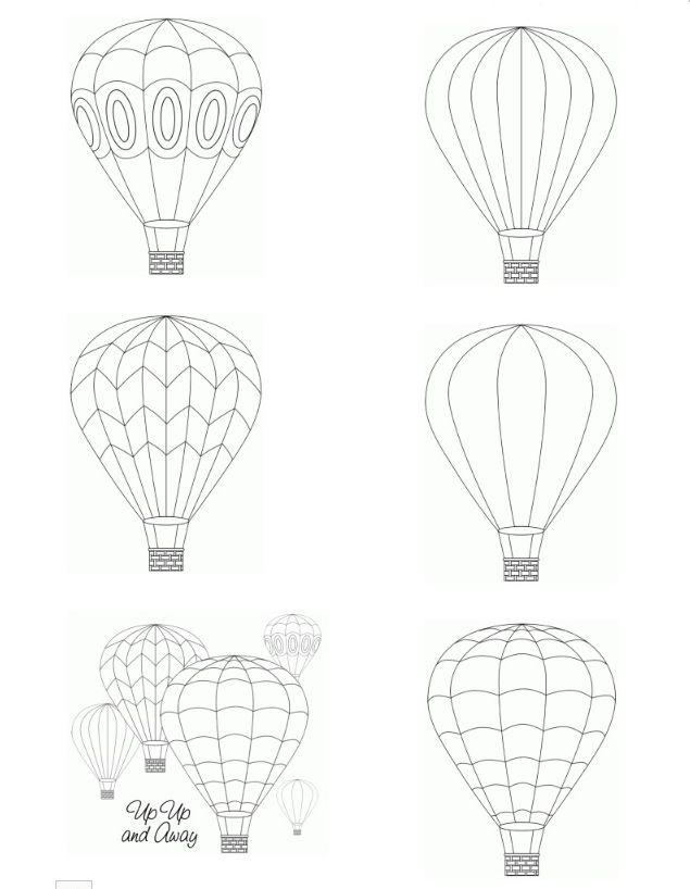 Luftballonger att skriva ut för färgläggning / Hot air balloon printable digital images from Birds Cards -- http://www.birdscards.com/?p=736