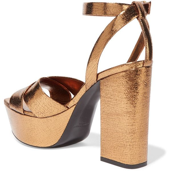 360bdd1a24a Saint Laurent Farrah metallic cracked-leather platform sandals ( 955) ❤  liked on Polyvore featuring shoes
