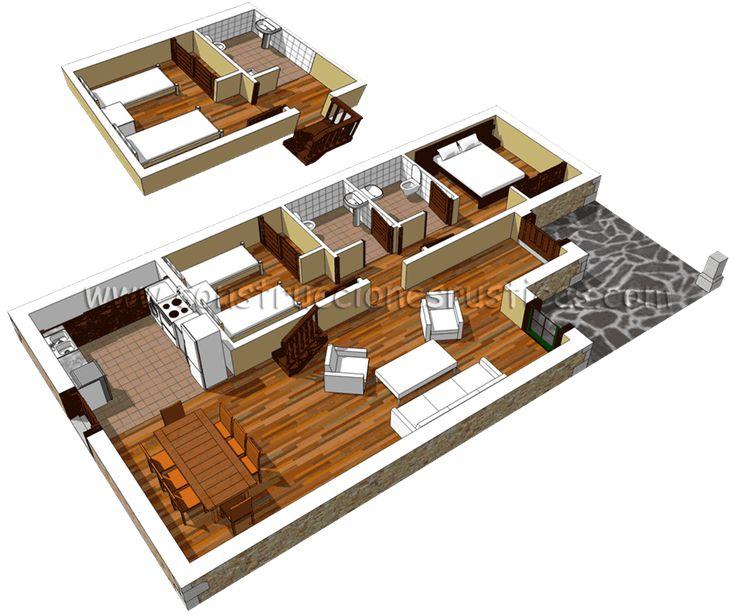 3d de distribuci n de casa r stica de piedra con bajo for Distribucion apartamentos pequenos