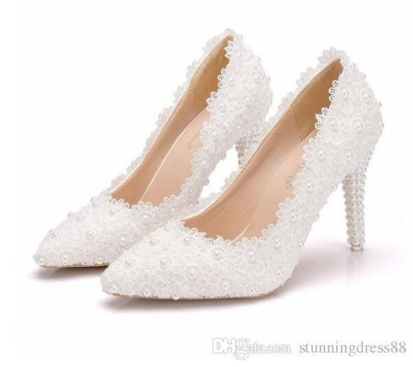 2019 Romantic Pearls White Lace Wedding Shoes For Bride 9 5 Cheap