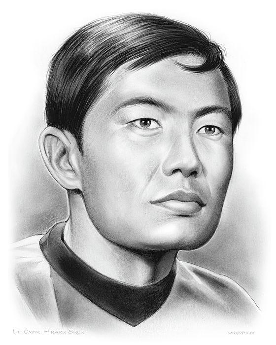 Pencil Drawing of Star Trek - USS Enterprise Lt. Commander Sulu
