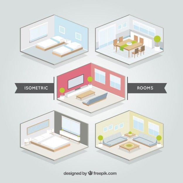 Isometric Rooms Set Free Vector