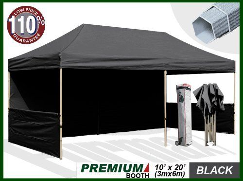 Eurmax Premium Ez up Canopy Booth with Wheeled Bag,bonus 4weight Bag (20x10 Feet, Black) ( 1 3/4 Inch Hexagon Leg) by Eurmax. $739.95. Frame:10x20 Feet Heavy duty Alumix Construction(Frame weight:124 LBS).Powder Coated,Full Truss Design, Six Leg, Leg size:1.77 inch Hexagon ,Adjustable Height,No Tools Necessary for Setup.. Eurmax premium Canopy booth Includes:Canopy Top, Canopy Frame,back wall,Two(2)1/2walls, Rail bar,Awning,Four(4)Weight bag,Roller Bag.Four(4)Stakes.No loose pa...