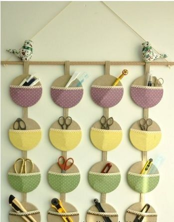 Upcycled hanging wall organizer with old CDs and some scraps of fabric. Very neat and practical way to recycle and reuse! #Upcycling #Clothes and #Ideas
