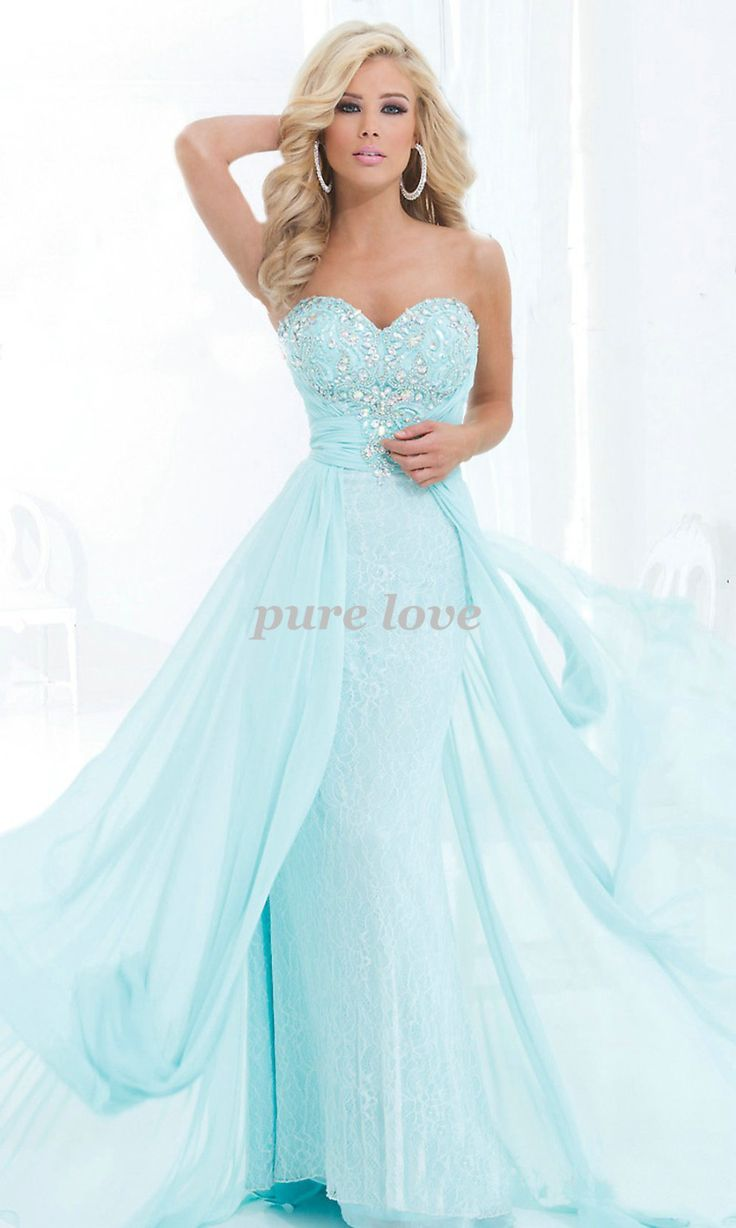 2014 New Arrival Free Shipping Light Blue Long Floor Length Beading Lace Up…