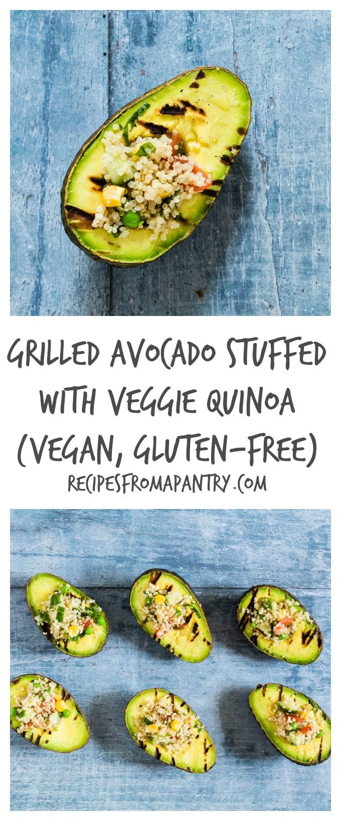 This grilled avocado stuffed with veggie quinoa is a fun veggie BBQ recipe. This is vegan and gluten-free too. Recipesfromapantry.com
