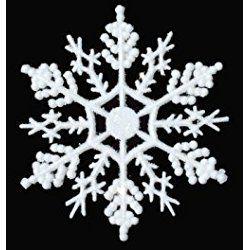 12-pc White 4 inch Snowflake Christmas Ornaments