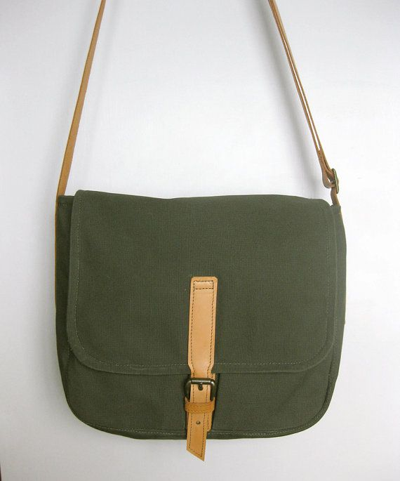 Messenger Bag, Canvas Bag, Christmas Gift, Canvas Side Bag, Shoulder Bag, Army Green Canvas Bag, Canvas Leather Bag, Men Crossbody Bag, Womens Crossbody Bag, School Bag, Army Bag, Gift for Friend ............................................................................................