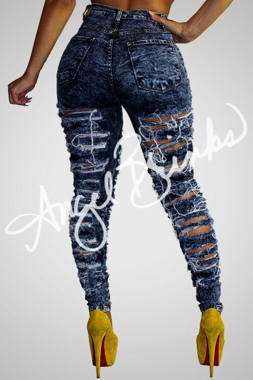 Double Sided Destroyed Jeans (Dark) | Shop Boutique on Angel Brinks