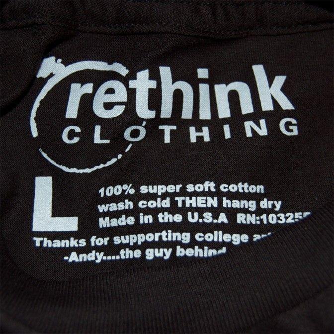 Rethink clothing t shirt tags shirt tags pinterest logos for Custom t shirts with custom tags