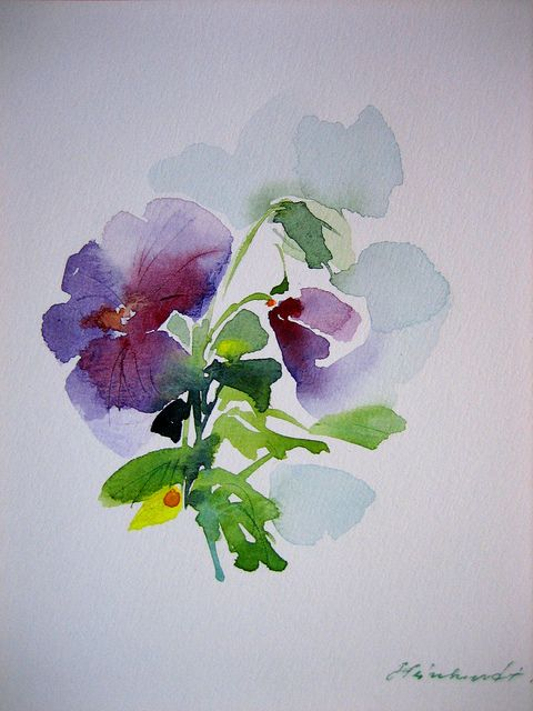 Watercolor pansies for my grandma