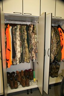Idea for the garage...perfect for hunting gear that otherwise lives in my living room for months!!