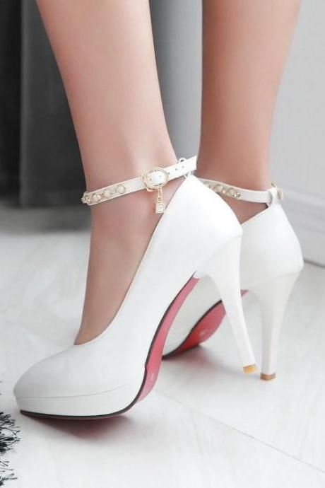 Women's Pu Ankle Strap Pure Color Platform High Heel Pumps