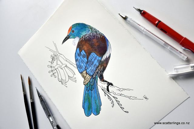 Original painting of a New Zealand Tui - watercolour, ink and collage