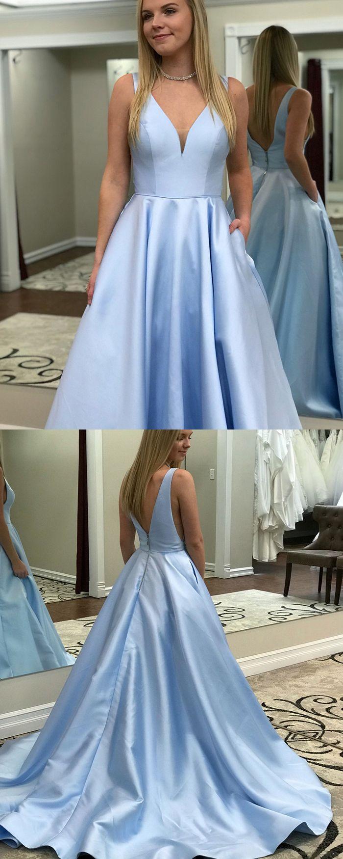 Simple Sky Blue V Neck Satin Long Prom Dress With Pockets Pd1503 Light Blue Prom Dress Prom Dresses Long Blue Light Blue Prom Dress Long