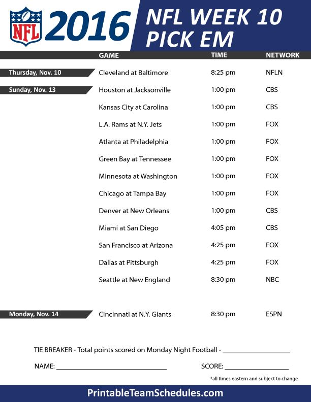 NFL Weekly Pick EM Office Pool Sheet