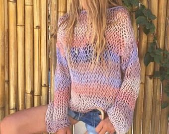 looseknit, ligero de punto, suéter de las mujeres, rosa lila y crema color mezclado banda suéter, suéter de playa