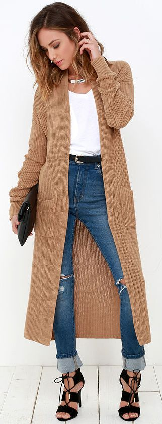 Long Cardigan Sweater, Sweater Coats, Wearing A Long Cardigan, Long Cardigan With Dress, Camel Duster Cardigan, Long Tan Cardigan Outfit Winter,