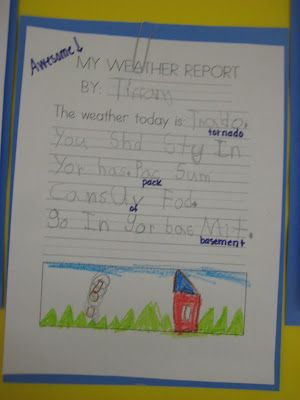 Kindergarten Smiles Blog- Weather Study--Love the idea of making them weather reporters! Plus it covers journals for the week!