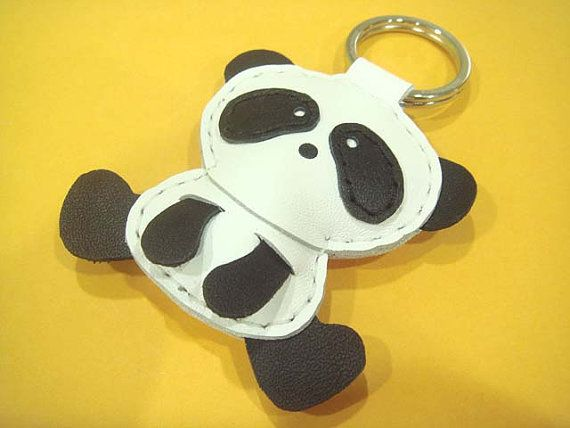 Leather Keychain Yen the Panda leather charm by leatherprince, $19.90