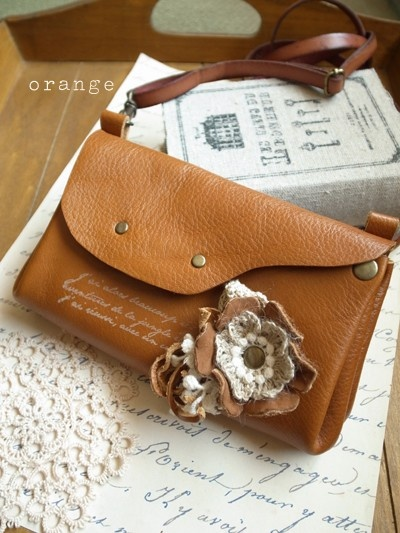 orange: mix of crochet and leather crafting