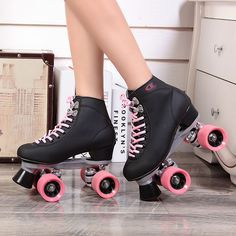 2015 Double Roller Skates Automobile Race Skating Shoes Female For Outdoor Street Ice Figure Powerslide Leather Pu Four Wheels