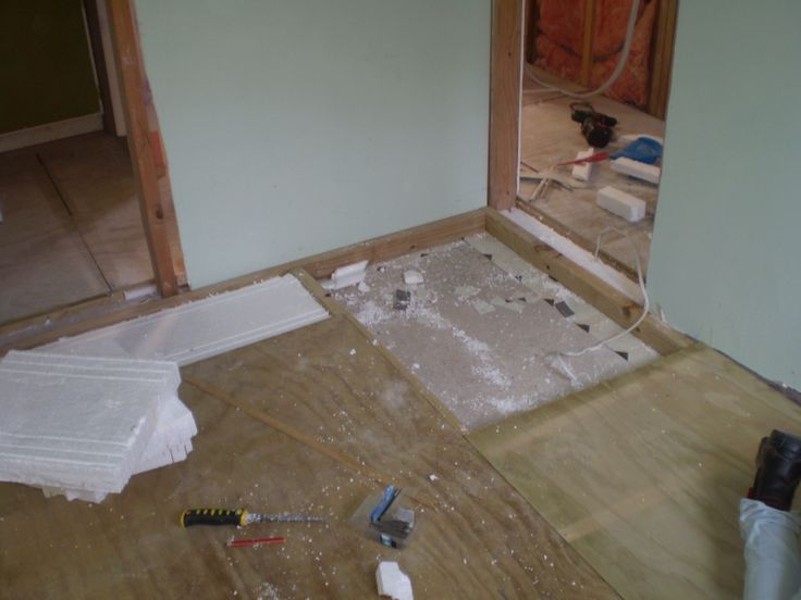 The old bathroom is gutted. Insulation in walls and under floor as we speak!