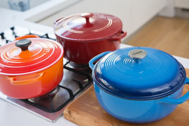Our three picks. Clockwise from top: Cuisinart Chef's Classic 7-Quart Dutch oven, Lodge Enameled 6-Quart Dutch oven, and Le Creuset 5½-Quart Round French Oven.