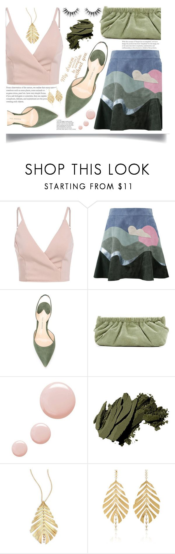 """""""verde musgo"""" by katiacsilva ❤ liked on Polyvore featuring Marc Jacobs, Paul Andrew, Rachel Comey, Topshop, Bobbi Brown Cosmetics, Hueb and Velour Lashes"""