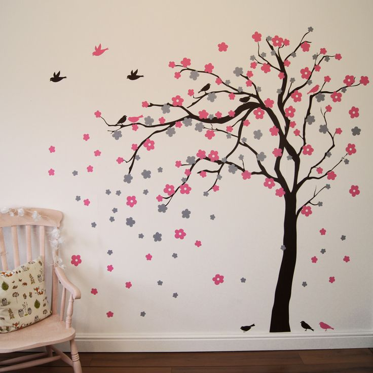 Best Childrens Wall Stickers Ideas On Pinterest Childrens - Wall stickers for girlspink cherry blossom tree with birds wall stickers girls bedroom