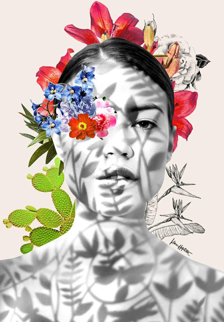 Frau Flower Collage by Karen Hofstetter